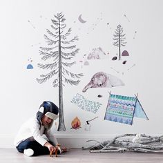 Let's Go Camping by Meeri Anneli for Love Mae (Fabric Decal) (pine Tree $80 -) (into the woods wall stickers $44.95) .✔️