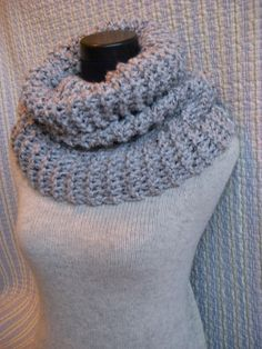 Pale Gray Knit Cowl, Grande Chunky Knitted Scarf, Heather Grey Neck Warmer. $50.00, via Etsy.