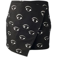 KENZO 'Eye' mini skirt ($425) ❤ liked on Polyvore featuring skirts, mini skirts, bottoms, black, faldas, black miniskirt, short black skirt, black skirt, pattern skirt and black wrap skirt