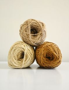 Rustic Jute Twine / string / Yarn for crafting, knit, crochet, gifts, packing, scrapbook, wedding, natural tones, Set of 3 buy more and save. $20.00, via Etsy - 464Handmade.