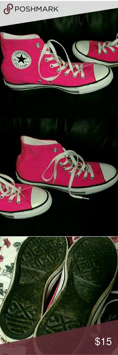 Hot pink Converse size 9 Hot pink high top Converse size 9 in good condition Converse Shoes Sneakers