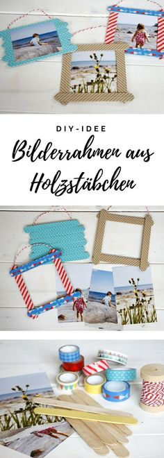 Anzeige: Mit PixelNet Fotoabzügen Bilderrahmen aus Holzstäbchen basteln Crafting with children: The picture frames made of wooden sticks are a photo crafting idea, with which you can put your f Kids Crafts, New Crafts, Easy Crafts, Diy And Crafts, Wood Crafts, Frame Crafts, Diy Frame, Diy For Kids, Gifts For Kids