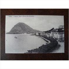 Switzerland Lugano quay Mont San Salvatore vintage postcard mountains holidays