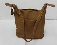 COACH - Vintage sac à bandoulière beige, Vintage Coach 9060, bourse en cuir, sac Hobo, seau sac