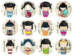 instant access to 24 Kokeshi doll circles on a background of Asian writing printable images -- no. 186