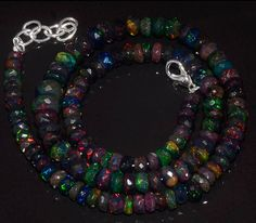 """88CRTS 5to7.5MM 18"""" BLACK ETHIOPIAN OPAL RONDELLE FACETED BEADS NECKLACE OBI2911 #OPALBEADSINDIA"""