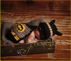 geektastic crochet batman & robin baby costumes