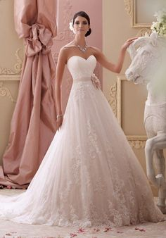This is a BEAUTIFUL dress. My bridal party helped pick this out and we all LOVE it! The lace is gorgeous and it has only been tried on... never wor...