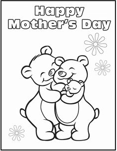 Happy Mothers Day For Bear Coloring Picture Kids