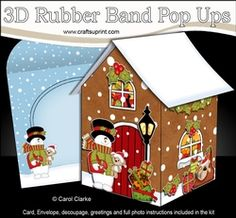 3D Rubber Band Pop Up Christmas Card - Snowman Rio Is In Love The Christmas Gingerbread House