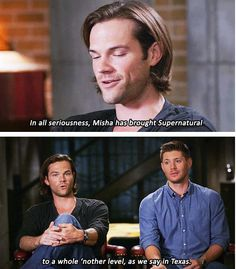 [gifset] SPN Retrospective with Jensen and Jared.  I'm from the South where 'whole nother' is common so it took me a second to figure out why he had to add 'as we say in Texas'.  LOL!