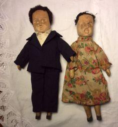 Wood Carved 1930s Doll Pair Poppet Dolls Kentucky   eBay