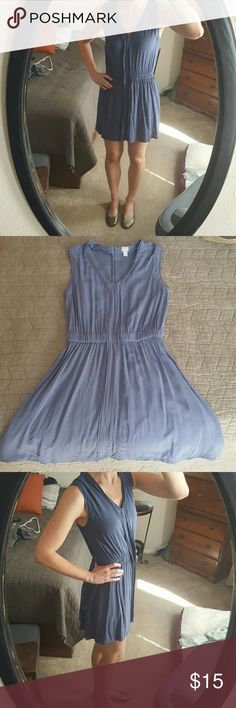 Blue dress Summer weight, gray blue fabric. Very comfortable. Worn a few times, but in almost perfect condition. There's a gold zipper down the back. Check out my listing for the gold shoes pictured here! Converse Dresses Mini