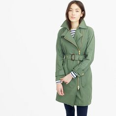 Our favorite take on the classic trench coat involves an asymmetrical golden zipper for an edgy twist. This style also features a gingham lining, leather tabs and sturdy water-resistant cotton—because a little rain should never ruin a good outfit.