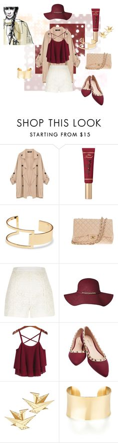 """Morning"" by briannamvillarreal ❤ liked on Polyvore featuring Too Faced Cosmetics, Sole Society, Chanel and River Island"
