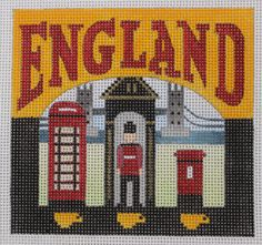 Denise DeRusha Designs England Hand Painted Needlepoint Canvas 18 count