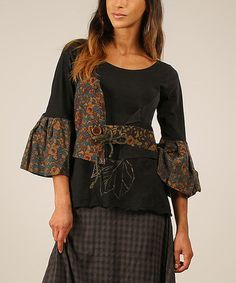 Another great find on #zulily! Black & Teal Floral Bell-Sleeve Top by Ian Mosh #zulilyfinds