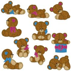 TEDDY BEARS Machine Applique - Machine Embroidery Design for sale at https://www.southerncrossembroidery.com/market/teddy-bears-machine-applique/