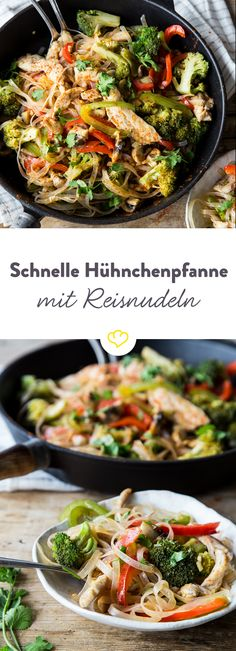 Schnelle Asia-Hühnchenpfanne mit Reisnudeln Cook rice noodles, roast chicken, add vegetables and sauté everything in soy sauce – fork in and you're in the far east. Greek Recipes, Rice Recipes, Baby Food Recipes, Asian Recipes, Chicken Recipes, Cooking Recipes, Healthy Recipes, Ethnic Recipes, Asian Chicken
