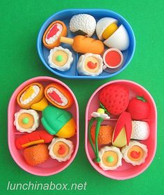 """This is a fake food bento. All of the """"food"""" are erasers! Cute!"""