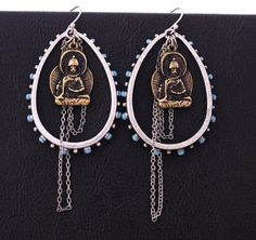 Grab these Hippie style Buddha earrings for a sophisticated look!! Antique finish.