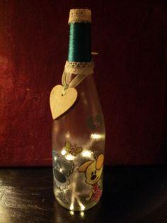 fles bewerlt met frost en servet van woezel en pip ( deze fles is een opdracht ) kan op bestelling gemaakt worden