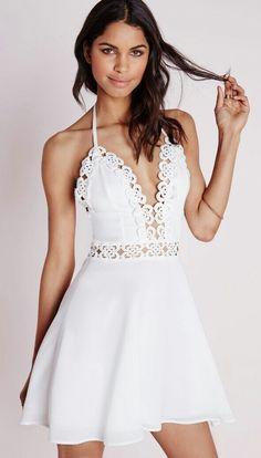 9482fcdf205f0a White Skater Dresses, White Halter Dress, Crochet Trim, Oh My Dress, Nude