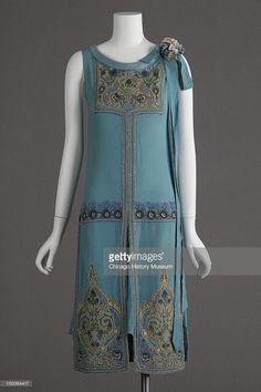 Wedding dress (silk crepe, glass beads, metallic thread embroidery), 1927 (front view).
