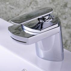 Single Handle Chrome Centerset Waterfall Bathroom Sink Tap (T0701)