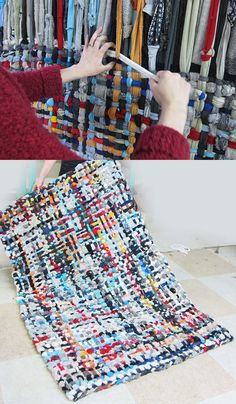 Diy potholder rug tutorial knit n sew homemade rugs, rugs, s Fabric Crafts, Sewing Crafts, Sewing Projects, Fabric Yarn, Scrap Fabric, Tapetes Diy, Homemade Rugs, Braided Rugs, Loom Weaving