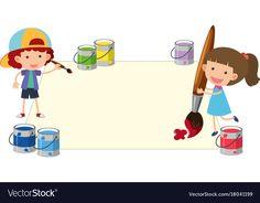 Boy and girl painting on paper vector image on VectorStock Alphabet Activities, Preschool Activities, Disney Cinderella Castle, School Border, Cute Borders, School Clipart, Paper Illustration, Painting Of Girl, Cute Kids