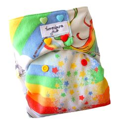 Rainbow Brite One Size Cloth Diaper with PUL Heart Snaps Bamboo Organic Cotton - Newborn Toddler Girls - Made to Order. $27.50, via Etsy.