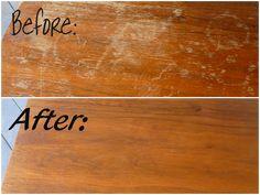 mezcla de 1/4 de taza de vinagre y 3/4 de taza de aceite de oliva y por arte de magia se deshizo de los arañazos de una pieza de la tienda de muebles de segunda mano.: arreglar arañazos en los muebles de madera