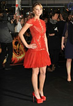 Jennifer Lawrence in Marchesa at the Berlin premiere of The Hunger Games.