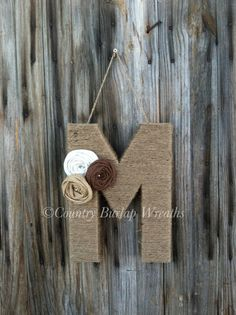 Monogram/ Personalized Jute Yarn wrapped letter wreath by cbcraft, $20.00