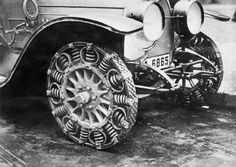 A close-up of the steel spring tire, created as a substitute tire because of a shortage of rubber in Germany. 1917