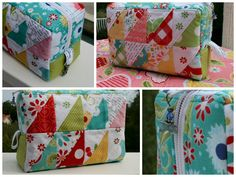 Triangle Patchwork Box Pouch