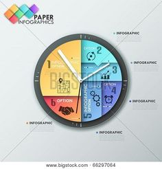 Buy Paper Infographic Template With Clock by Andrew_Kras on GraphicRiver. Modern infographics options banner with clock made of colorful sheets, icons and text. Infographic Website, Infographic Templates, Infographics Design, Powerpoint Slide Designs, Newsletter Templates, Data Visualization, Coloring Sheets, Banner Design, Web Design