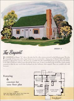"""1952 National Plan Service - """"The Bryant"""" houseplan.  Tiny, but cute house."""