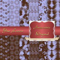 """Blue and Brown Leaf Design Digital Paper, 12 Sheets 12"""" x 12"""" .jpg, 300 dpi"""