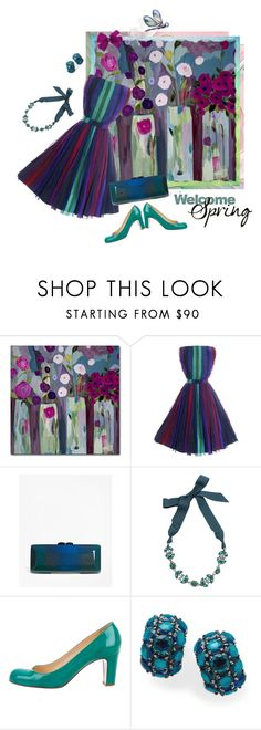 """""""Spring in 1960s Style"""" by valeria-mezhevikina ❤ liked on Polyvore featuring Trademark Fine Art, Brooks Brothers, Lanvin, Christian Louboutin, Ippolita, patentleather, 1960s and chiffondress"""