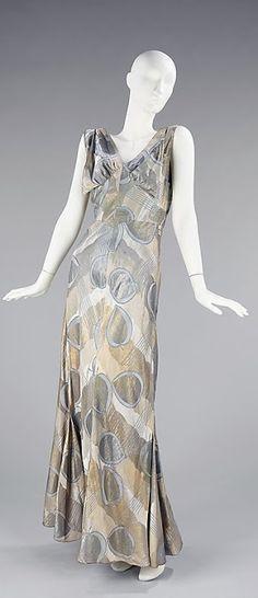Hawes 'Mercury' Dress - FW 1933 - by Elizabeth Hawes  (American, 1903-1971) - Silk, metal - @~ Mlle