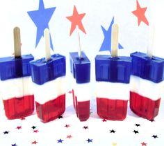 Popsicle Soaps - fun! USA Popsicle Soaps ( Blueberry, Lemon, Cherry ) 4th of July Party Favors  ( 3 )