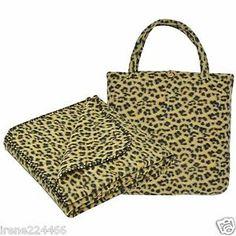 EHS 2pc Cheetah Fleece Throw Blanket (50x60) & Tote (13x13) Set NWT