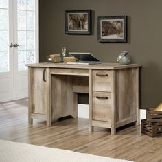 Amazon.com: Sauder Cannery Bridge Computer Desk in Lintel Oak: Kitchen & Dining