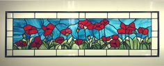 Red Oriental Poppy Stained Glass Transom Panel. $365.00, via Etsy.    Love the poppies!