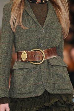 Oakmoss toned Tweed Jacket with a vintage leather belt.