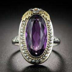 Art Deco Amethyst and Seed Pearl Ring - Antique & Vintage Gemstone Rings - Vintage Jewelry