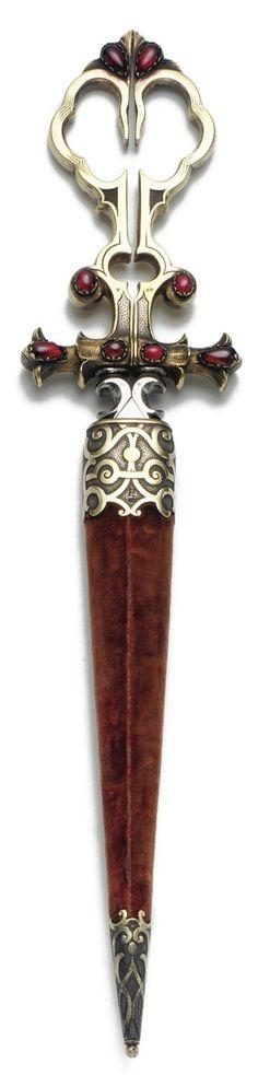 A pair of silver scissors sheathed in velvet by Samuel Arns, St. Petersburg 1852