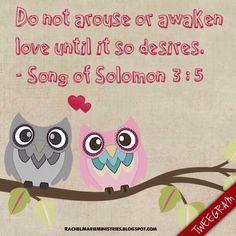 Daughters of Jerusalem, I charge you by the gazelles and by the does of the field: Do not arouse or awaken love until it so desires.  - Song of Solomon 3:5 (NIV)
